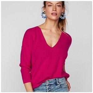 Express Pink V-Neck Sweater